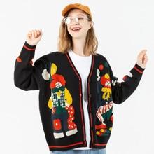 Knitted Sweater Cotton-Cardigan Oversize Clown Harajuku Women Streetwear Spring Hip-Hop