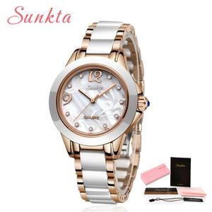 Image 5 - SUNKTA אופנה נשים שעונים גבירותיי צמיד שעון מזדמן קרמיקה קוורץ שעוני יד שעון עמיד למים שעון Relogio Feminino
