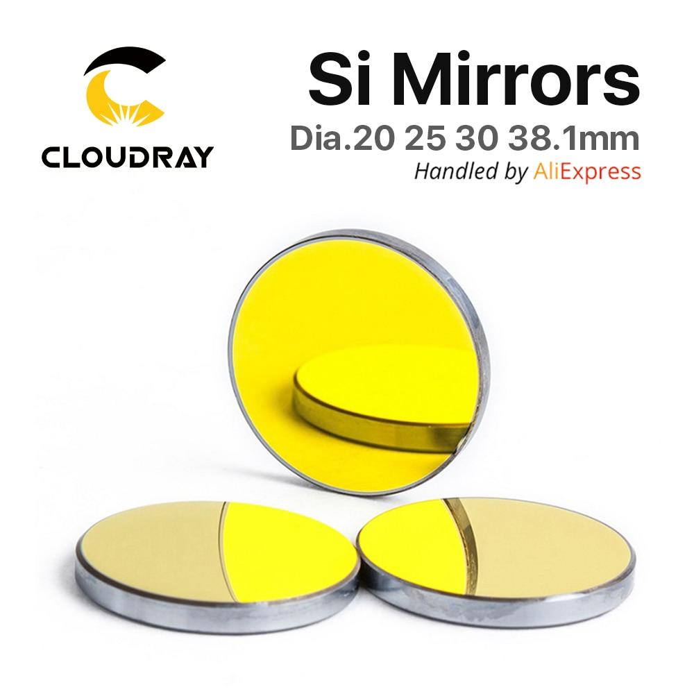Si Mirror Dia. 19 20 25 30 38,1 mm Silicio placcato in oro per macchina da taglio per incisione laser CO2 Spedizione gratuita