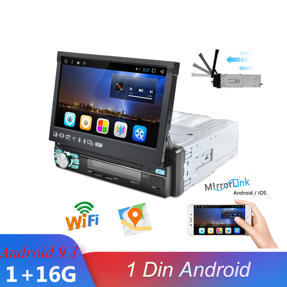 1 Din Android 9.1 Car Multimedia Player Stereo Car Radio 7 inch Automatic Retractable Screen GPS WIFI Bluetooth Navigation image