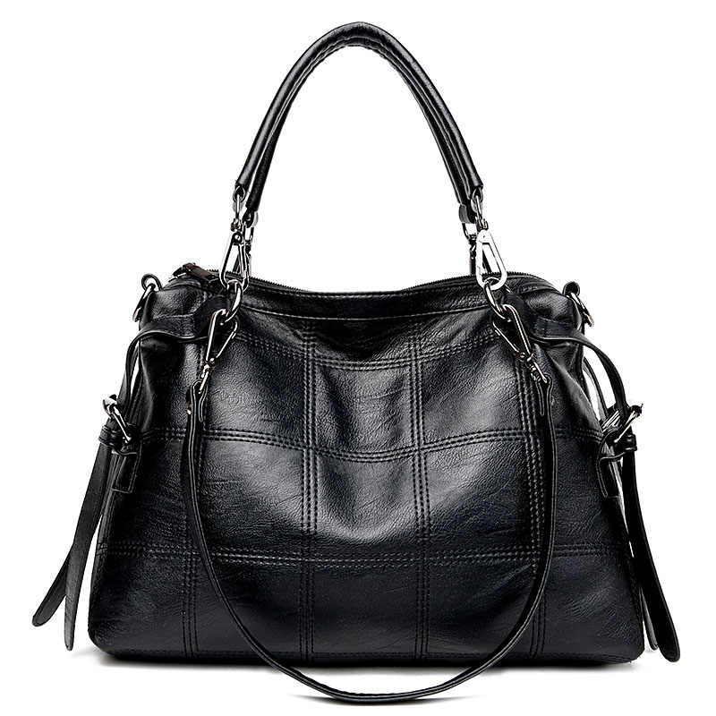 Yonder signore della borsa delle donne del messaggero del cuoio genuino delle donne del sacchetto di grande spalla crossbody bag femminile grande Boston bag grigio/ nero
