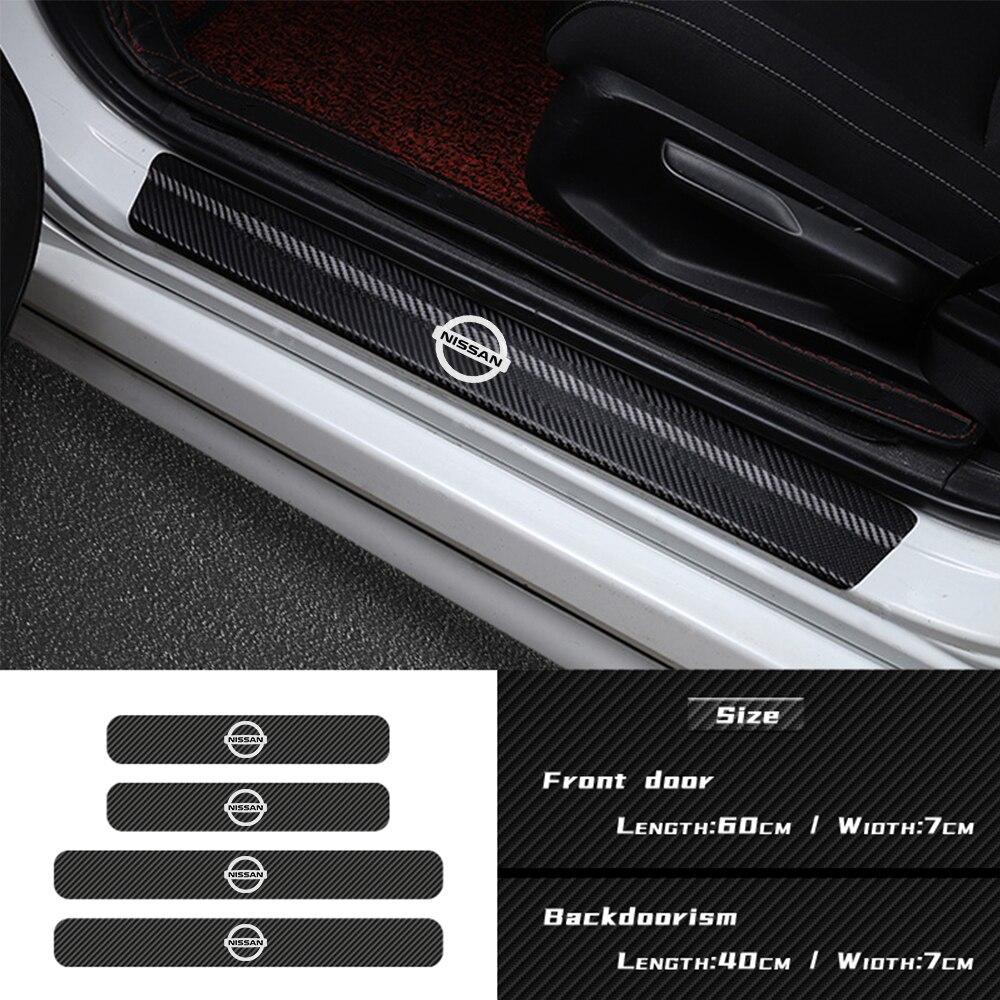 Для Nissan Qashqai X-trail Juke Sunny Note Leaf Tiida патруль Sentra автомобильные аксессуары 4 шт. карбоновые пороги значок наклейки