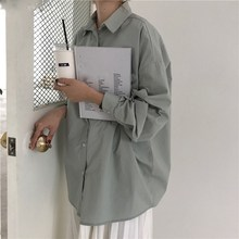 2019 Summer Spring Women Korea Casual Long Sleeve Shirts Solid Turn-Down Collar 4 Colors Plus Size Blouse