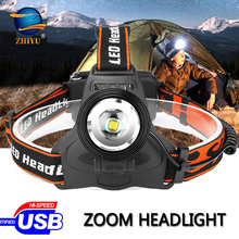 ZHIYU XML T6 LED Headlamp 3-Modes Zoom Headlight High Power 3000LM Head led Torch 18650 Rechargeable Hunting Camping Head Torch