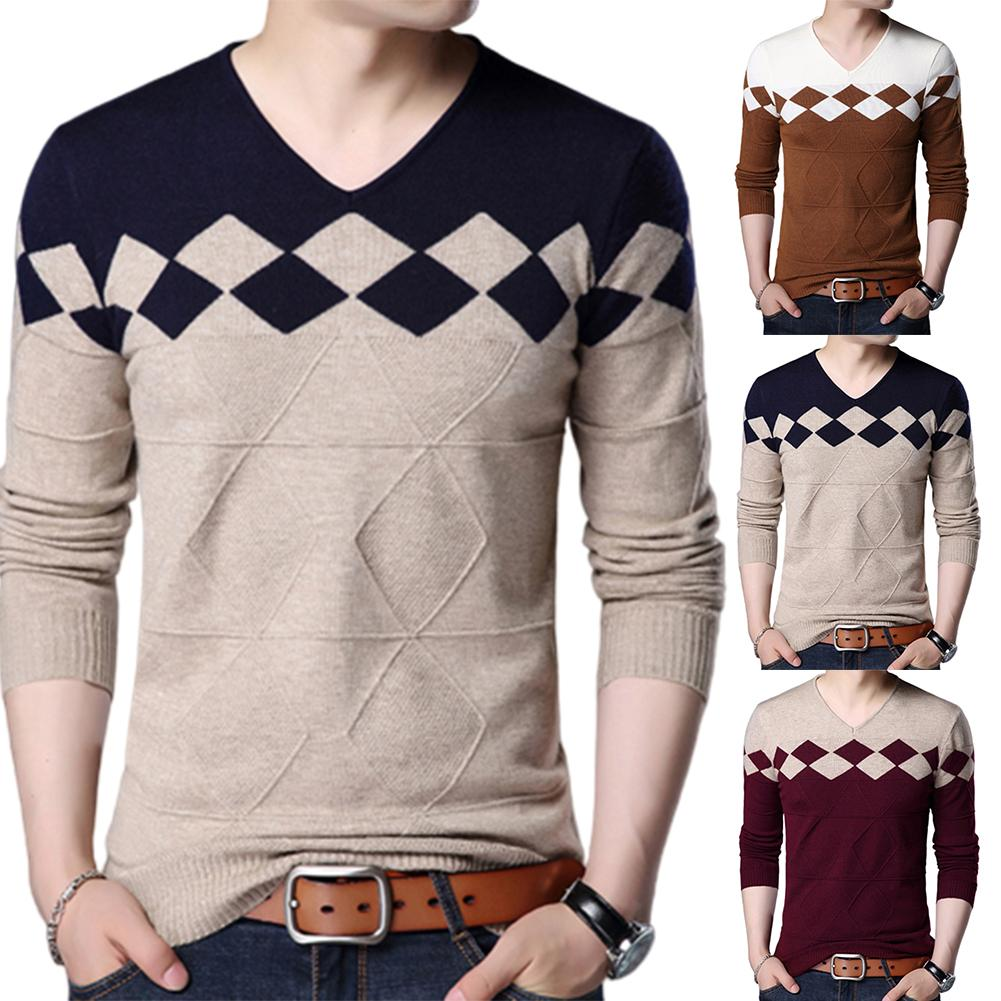 2019 Autumn Winter Sweater Men Sweaters Pullovers Casual Long Sleeve V Neck Color Block Slim Knitwear Sweater Men's Sweaters