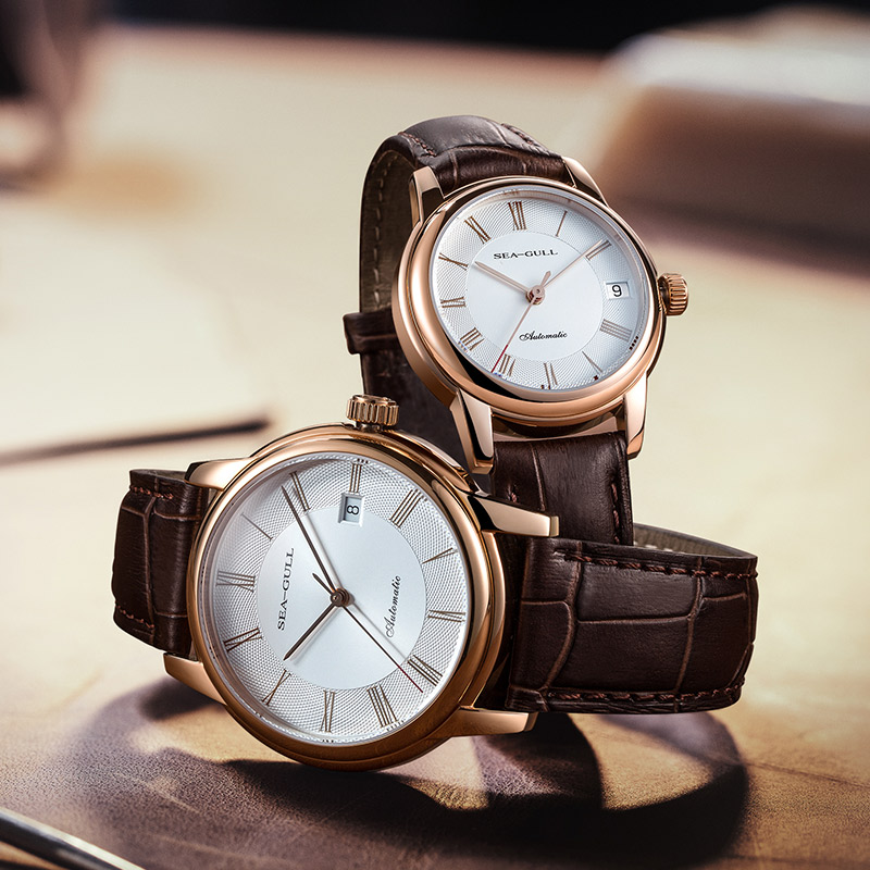 Seagull Couple Mechanical Watches Lover Men Women Simple Leather Buckle 30m Waterproof Calendar Watches Stainless D519.405