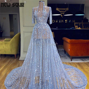 Image 1 - Cömert mavi abiye 2020 Robe De Soiree türk kaftanlar uzun kristal balo elbise Aibye resmi arapça Dubai parti kıyafeti