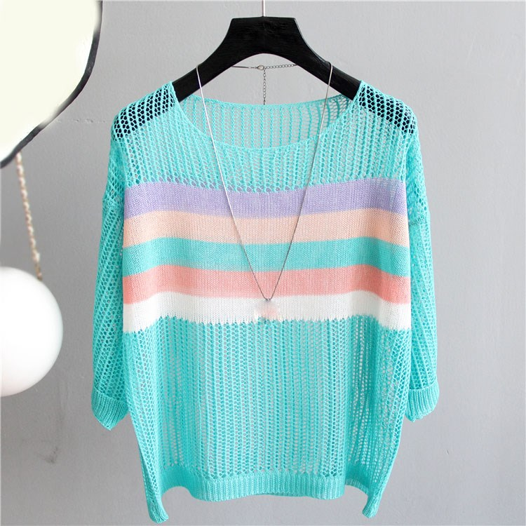 Nice Summer Women Pullover Sweaters O-Neck Loose Round Neck Hollow Out Pullovers Colorful Striped Knitted Thin Sweater