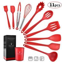 11 Piece Silicone Kitchen Utensils Set Non Stick Spatula Soup Ladle Whisk Tongs Nonstick Cookware Set Cooking Tools Accessories