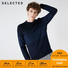 SELECTED Autumn and winter new men's woolen herringbone pattern dot knit sweater S |418425529(China)