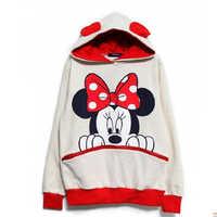 Kawaii Frauen Beiläufige Hoodies Mickey Cartoon Mit Kapuze Sweatshirts Weibliche Lose Fleece Pullover Plus Größe Harajuku Hoodies Outwear