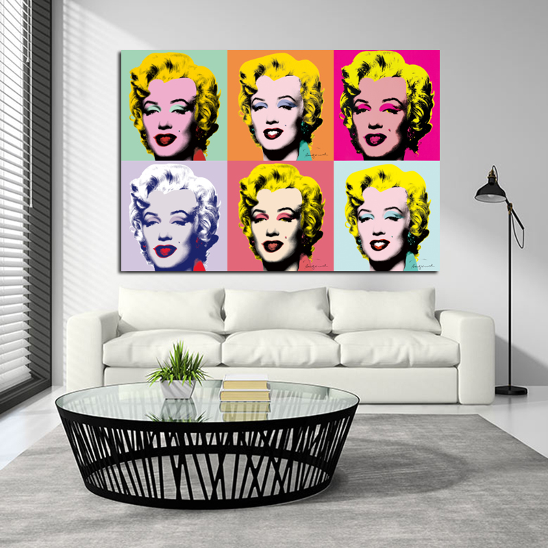 Colorful Marilyn Monroe Andy Warhol Canvas Art Painting For Living Room Modern Decorative Paintings Wall Prints Unframed