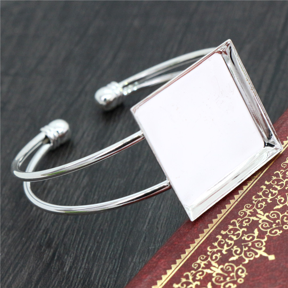 High Quality  25mm Silver Plated Square Bangle Base Bracelet Blank Findings Tray Bezel Setting Cabochon Cameo  (L6-23)