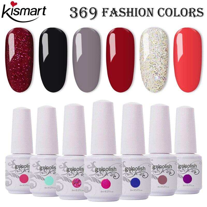 369 цветов 8 мл бутылка гель для ногтей Гель-лак УФ/светодиодный лак для ногтей отмачиваемый гель лак для ногтей основа верхнее покрытие Декор...