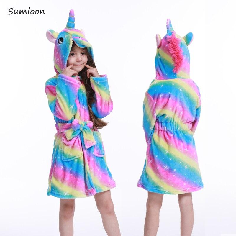 Winter Kids Bathrobe Animal Cartoon Stitch Unicorn Bath Robe Cute Hooded Bathrobes For Children Flannel Pajamas Boys Girls Robes
