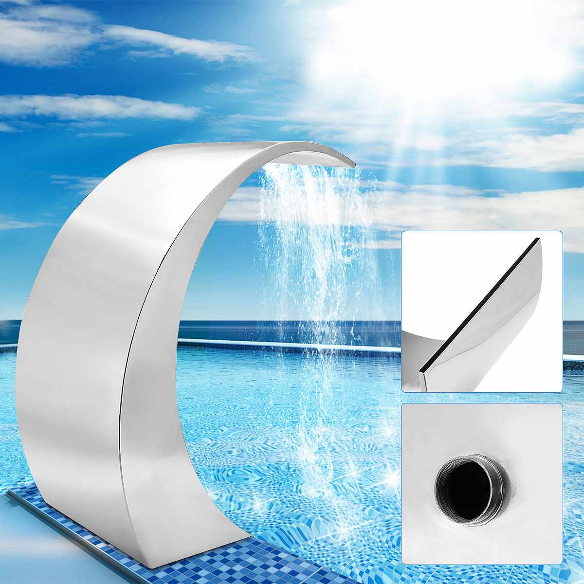 60*30cm Fountain Garden Pool Pond Stainless Steel Pool Accent solar Fountain Pond Garden Swimming Pool Waterfall|Watering Kits| |  - title=