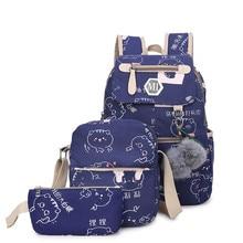 Large Capacity School Bags For Teenagers Girls Cute Ladies Printing Backpack Set Women Shoulder Travel Bag Rucksack Book Bags