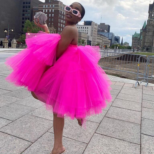 Chic Fuchsia Ruffles Short Tulle Dresses Women 2020 Puffy A-line Mini Tutu Dress Summer Off The Shoulder Robe Vestidos 1