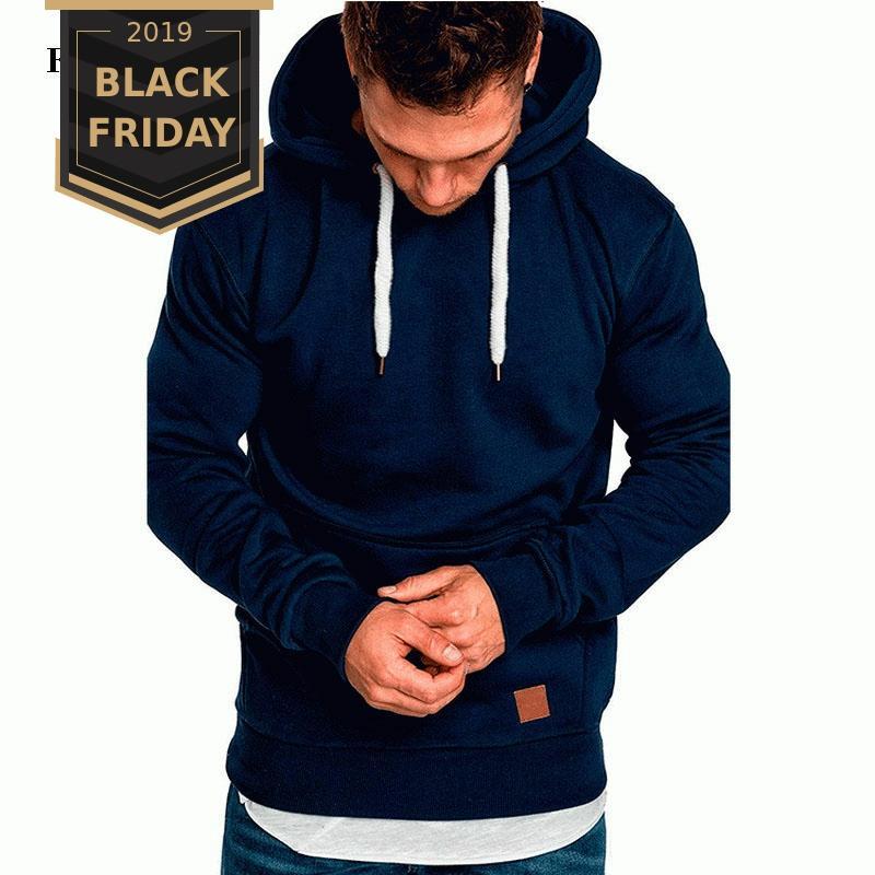 FALIZA New Spring Mens Sweatshirts Hoodies Long Sleeve Solid Casual Sweatshirt Hoodies Top Pullovers Tracksuits Sweatshirt WY106