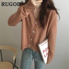 RUGOD Chic elegant solid cardigan women Fashion V neck loose single-breasted auturm coat female ropa mujer invierno 2019