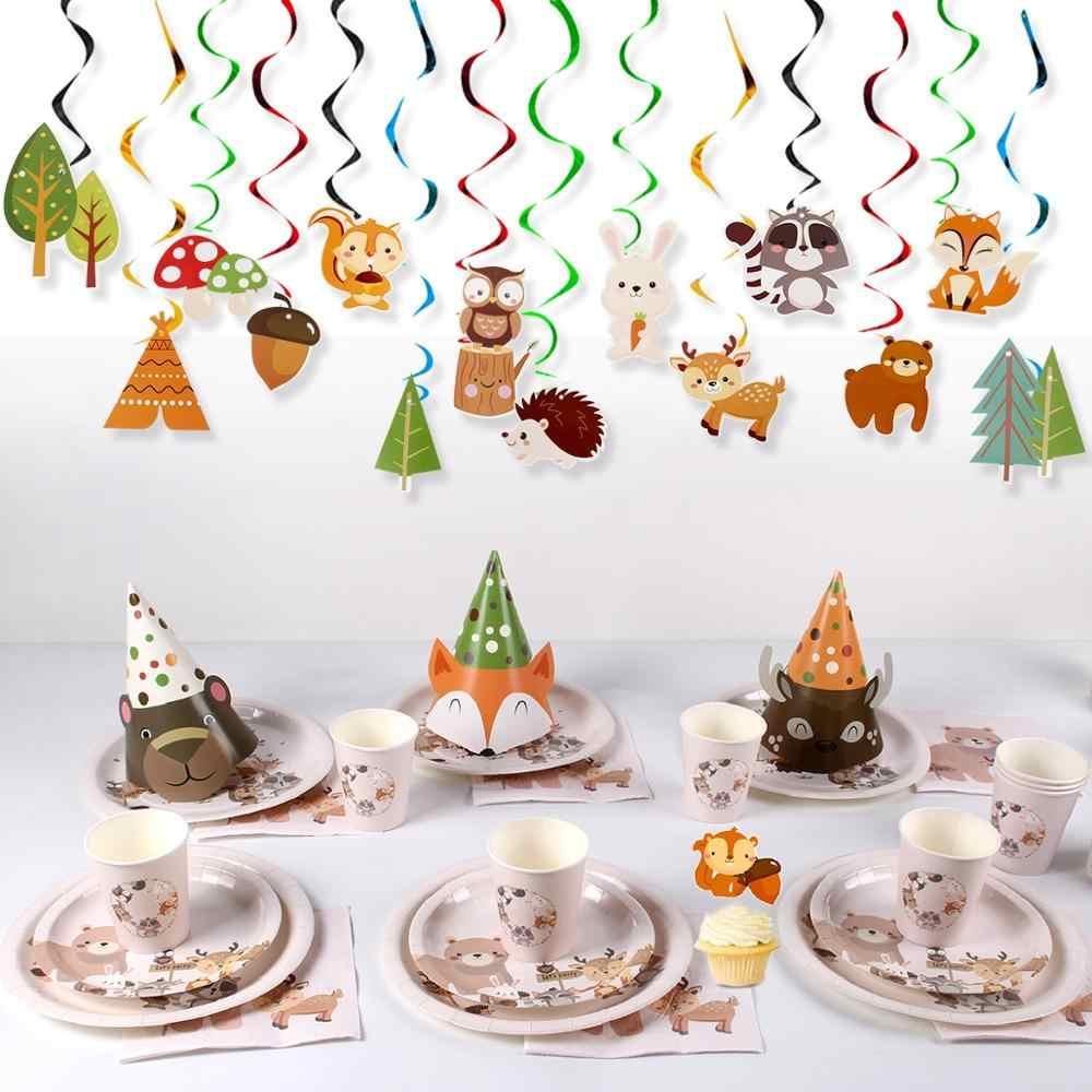 QIFU orman tek kullanımlık parti sofra tek kullanımlık tabak bardak peçete Woodland doğum günü partisi dekorasyon çocuklar Safari parti malzemeleri