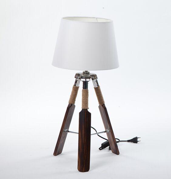 Тканевый абажур деревянный треугольник весло настольные лампы украшения настольные лампы для чтения спальня рядом с освещением - Цвет абажура: white