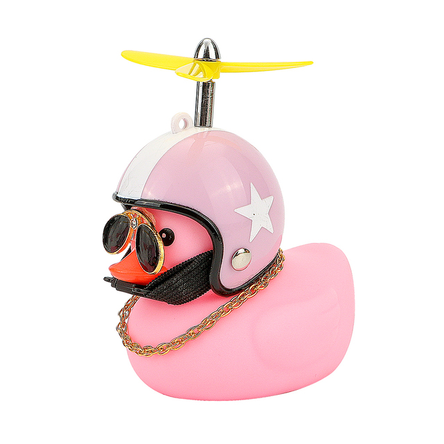 Car Duck with Helmet Broken Wind Small Yellow Duck Road Bike Motor Helmet Riding Cycling Car Accessories Decor Without Lights 6