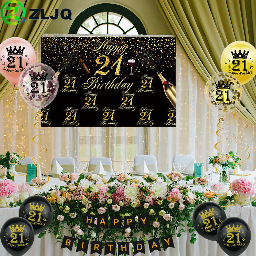 Zljq 21st Birthday Party Decorations Kit Black Gold Background Cloth Number 21 Printed Balloons Banner Flag Birthday Supplies Party Diy Decorations Aliexpress