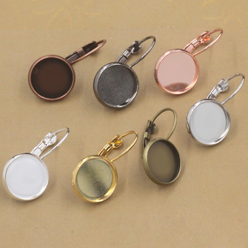 10pcs/lot 8-16mm Ear Hook Blanks Base Diy Cabochon Cameo Setting Silver Rose Gold Color Copper Earrings Cabochon Base Jewelry