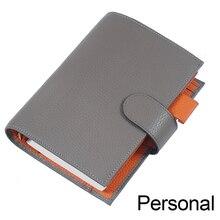 Organizador de cuaderno de cuero genuino, carpeta de anillos, cubierta de planificador, tamaño Personal, diario, cuaderno de bocetos, Agenda con Bolsillo grande