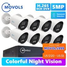 MOVOLS 8CH H.265 + P2P 5MP Colorido Night Vision Sistema de Vigilância DVR Kit Sistema de CCTV Câmera de Segurança Ao Ar Livre À Prova D' Água Em Casa