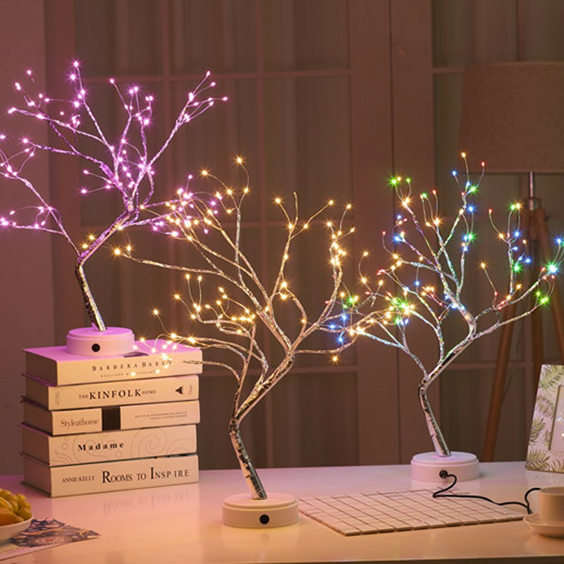 108 LED USB ตารางโคมไฟทองแดงลวด Christmas Fire Tree Night Light บ้านเดสก์ท็อปตกแต่งตกแต่งคริสต์มาส