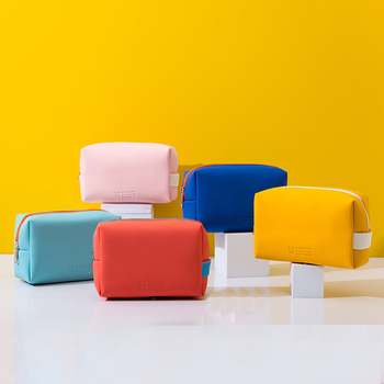 Travel Cosmetic Bag Makeup Case Women Zipper Make Up Handbag Organizer Storage Pouch Toiletry Wash Bags PU Leather Bags Yellow thikin fashion vogue karl lagerfelds cosmetic bag 3d printing women travel make up toiletry bags makeup handbag organizer case