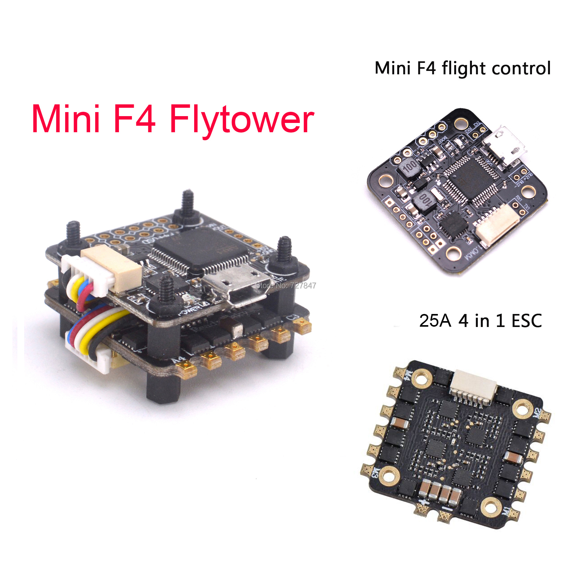 Mini F3 / F4 Flytower Flight Control Integrated OSD 4 In 1 Built-in 5V 1A BEC 25a ESC Support Dshot For FPV RC Drone
