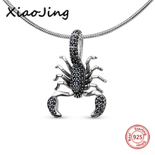 2017 New Style Gift In 925 Sterling Silver Black Scorpion With Cz Pendant Style Fashion Good Jewerly For Men & Women цена