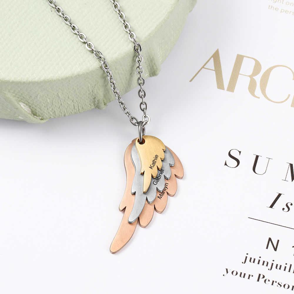 Colar de asas personalizadas com 3 nomes de aço misturado & ouro rosa & cor de ouro personalizado família gravada colar (jewelora ne103785)