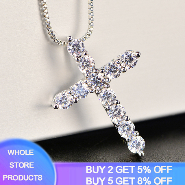 With Certificate 11pcs Lab Diamond Cross Pendant Necklace 925 Sterling Silver Choker Statement Necklace Women Silver 925 Jewelry 1