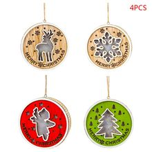 4pcs/set Wooden Snowflake Deer LED Light Merry Christmas Tree Hanging Ornaments Holiday Decoration