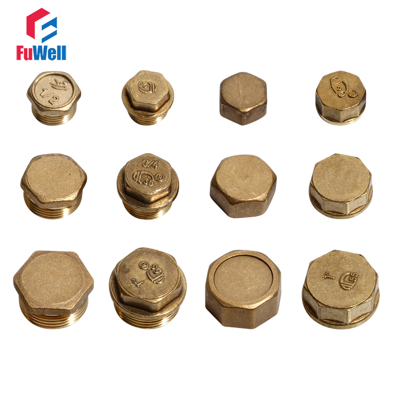 2pcs <font><b>Copper</b></font> <font><b>Pipe</b></font> Fitting Plug 20/25/<font><b>32mm</b></font> Male Female Thread Water <font><b>Pipe</b></font> Plug 1/2'' 3/4'' 1'' Water Oil Gas Brass <font><b>Pipe</b></font> Joint Plug image