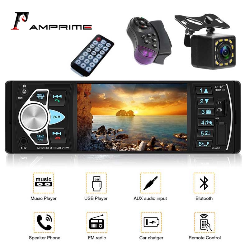 AMPrime car radio 1 din TFT touch screen Support high capacity TF card Bluetooth USB Reverse Camera 4.1'' Steering Wheel control image