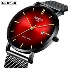 Relogio Masculino NIBOSI גברים שעונים פשוט אופנה למעלה מותג יוקרה Creative זכר שעון עמיד למים לא מוגדר מזדמן שעון גברים