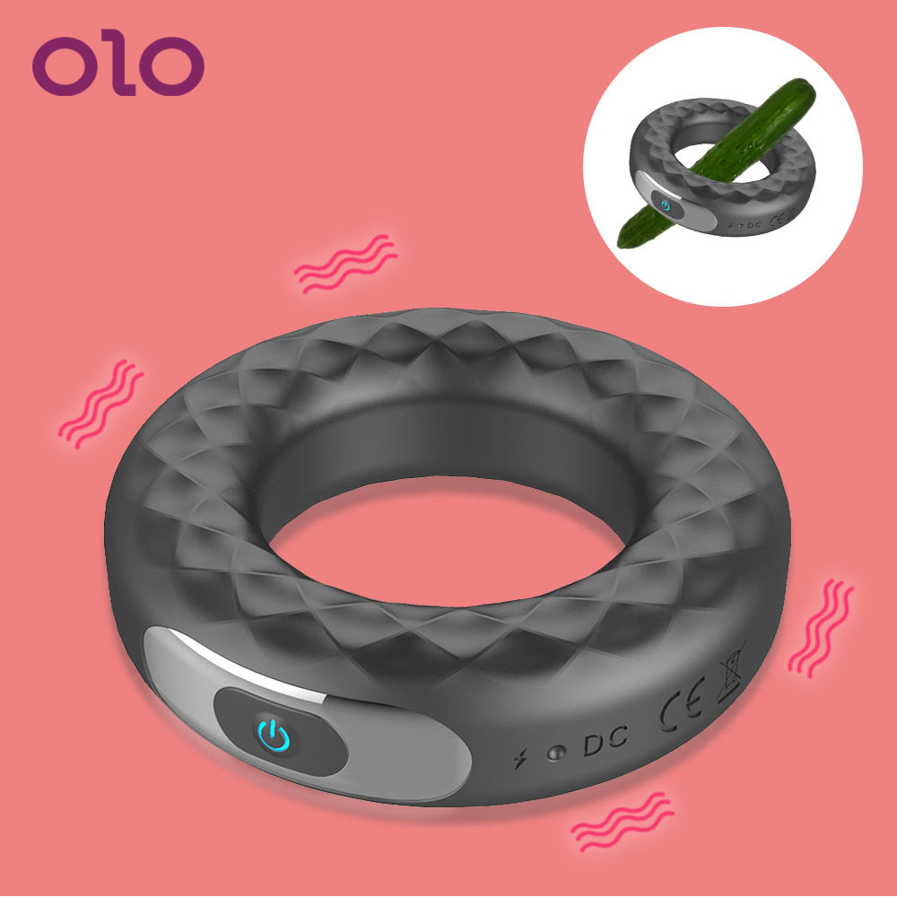 OLO Delay Ejaculation 10 Frequency <font><b>Vibrating</b></font> <font><b>Penis</b></font> Ring Sex Toys for Men <font><b>USB</b></font> Rechargeable Erection Lock Ring Silicone Cock Ring image