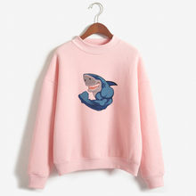 shark printed Hoodie Womens Kawaii Personalized Custom Printed Sweatshirts Hoodies Sweatshirts Harajuku Hoody Cotton tops(China)