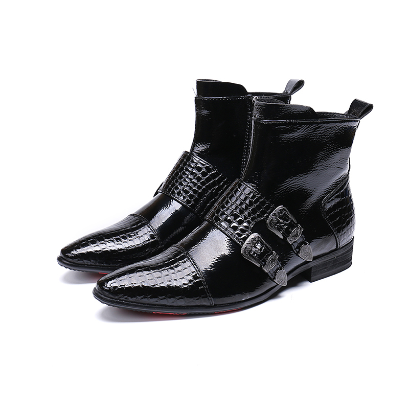 Genuine Leather 2 Buckles Zip Ankle Boots Fashion Crocodile Pattern Bright Leather Oxford Pointed Toe Martin Boots Big Size 46