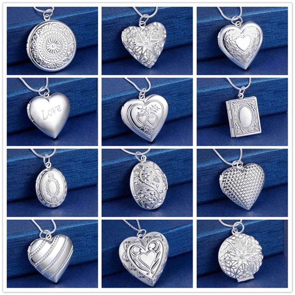 Дешевое ожерелье серебряного цвета с кулоном в форме сердца, модное классическое женское ожерелье с фоторамкой, лучший подарок, ювелирные и...