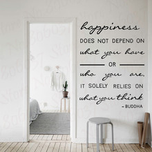 Buddha wall quote decal Happiness relies on what you think Buddhism art stickers decor free shipping WL2033