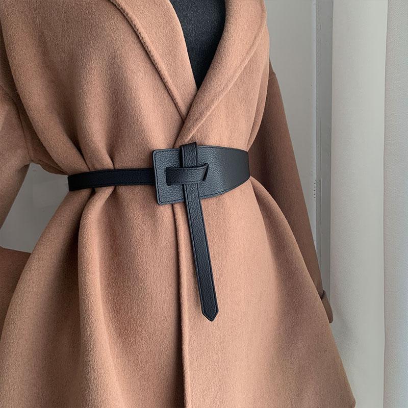 Designer belts for women high quality knot soft pu leather long cummerbunds wide coat ceinture femme dress waistband cintos