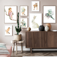 Little Fairy  Elf Hummingbird Rabbit Wall Art Print Canvas Painting Nordic Posters And Prints Pictures Kids Room