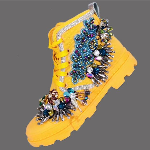Fireworks custom Ming Huang heavy work Italian pearl beaded ladies wild fashion Martin boots shoes