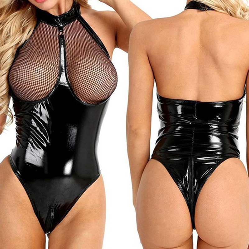 Women Sexy Patent Leather Bodysuits Bodystocking Open Crotch Body Suit Sexy Party Costumes